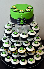Ben 10 Omnitrix Watch Cupcake Tower (Klaire with a Cake) Tags: birthday tower cake little ben 10 4 watch cupcake tlc cupcakery omnitrix klairescupcakes