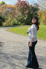 Outfit - Twenty8Twelve 1970s inspired jeans, breton shirt, bangs, starbucks