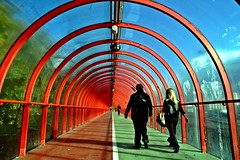 Time travel while bathing in sunlight (joeri-c) Tags: blue red people green architecture scotland nikon glasgow gimp pedestrian walkway nikkor secc pedestriantunnel pedestrianbridge anderston digikam a814 d5000 1685mm nikkor1685mm nikond5000