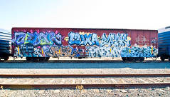 Cedar, Luxa, Bleak, Naka, Destn, Paeday, Optimist (TheHarshTruthOfTheCameraEye) Tags: california train de graffiti tim pop cedar bleak destn optimist northern freight lords nsf dck naka ksw luxa benching kbt paeday