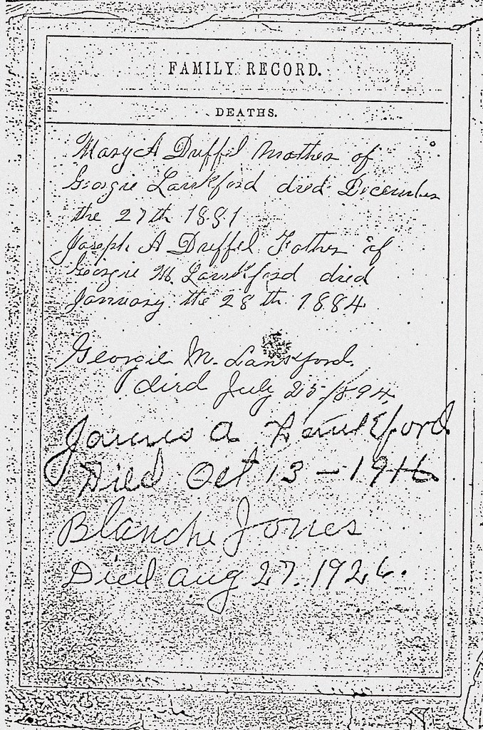 James A Lankford Family Bible Page Six