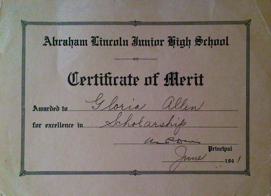 Gloria Allen Certificate of Merit June 1941