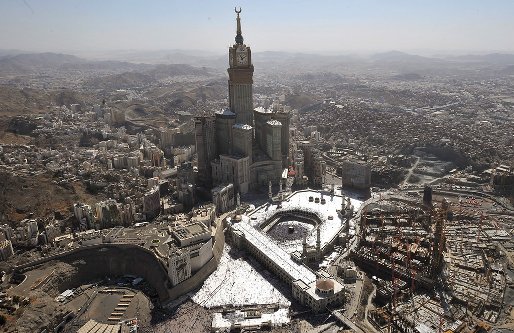 An aerial view shows the Mecca Clock Tower as Muslim pilgrims walking around the Kaaba in the Grand Mosque of the holy city of Mecca during the annual Hajj pilgrimage rituals on November 7, 2011. (Fayez Nureldine/AFP/Getty Images)