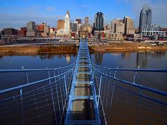 Ascension (Bill Fultz) Tags: water skyline buildings river cincinnati suspensionbridge ohioriver cincinnatiskyline roebling oldbridge roeblingsuspensionbridge downtowncincinnati cincinnatiriverfront