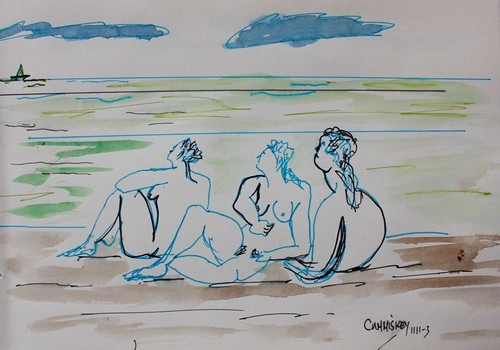 Three ladies on the beach