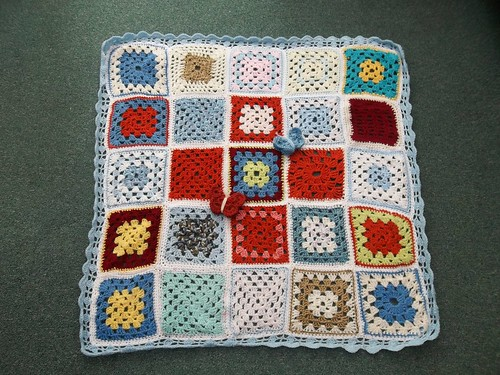 Glynis contributed enough Squares for three Blankets. This is the first. Thank you so much!