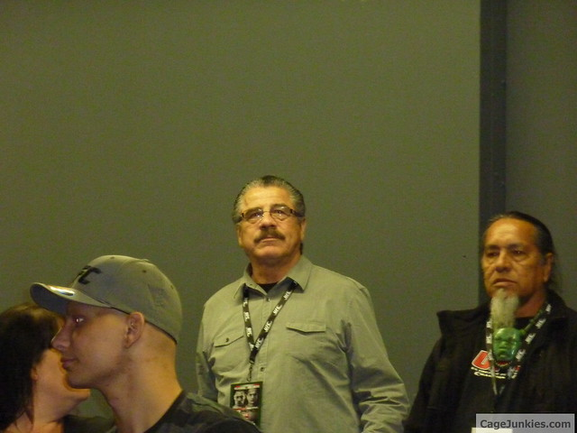 Cut-man Stitch Duran watches the weigh ins for UFC ON FOX