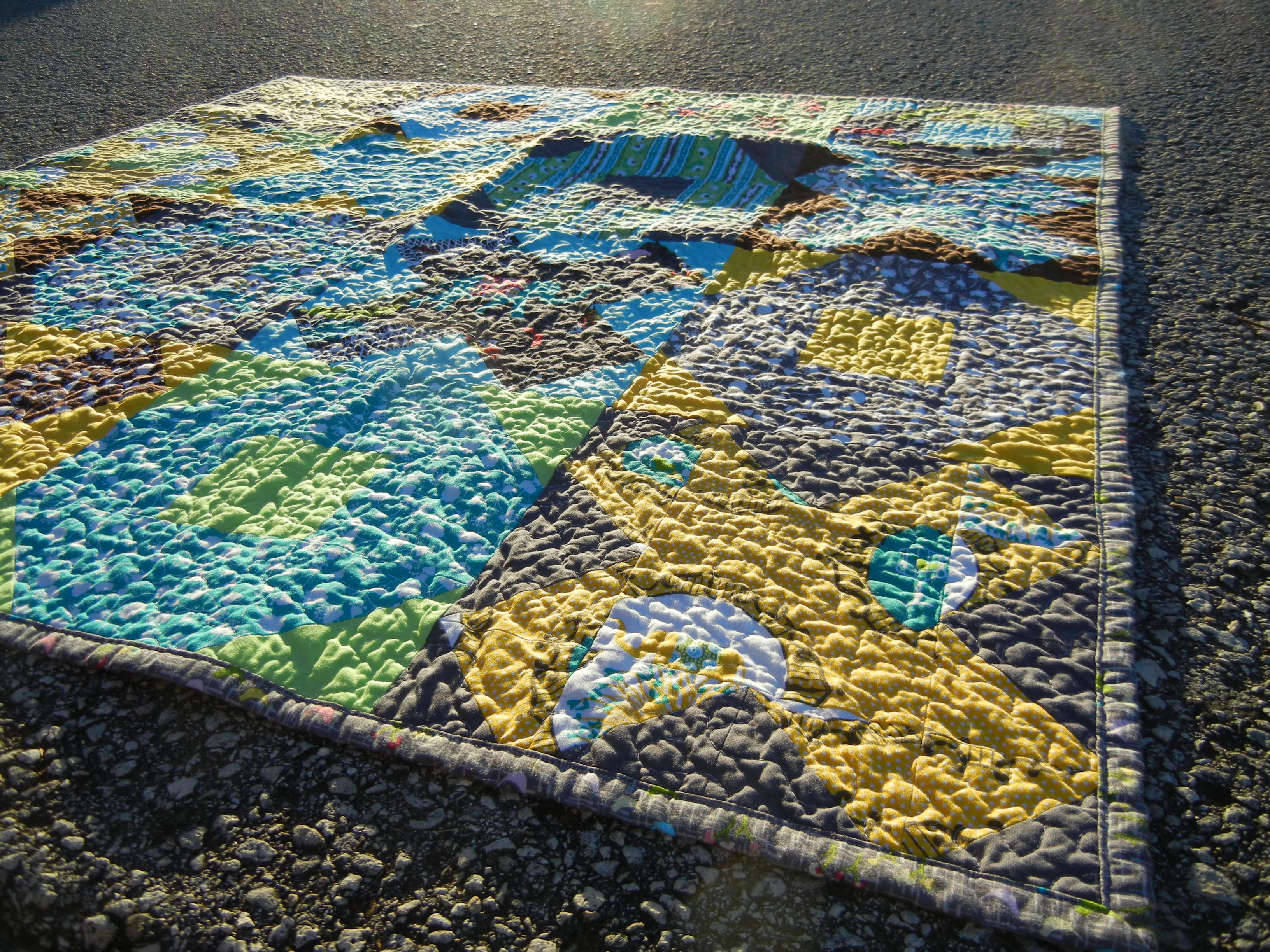 X and O quilt - the textured view
