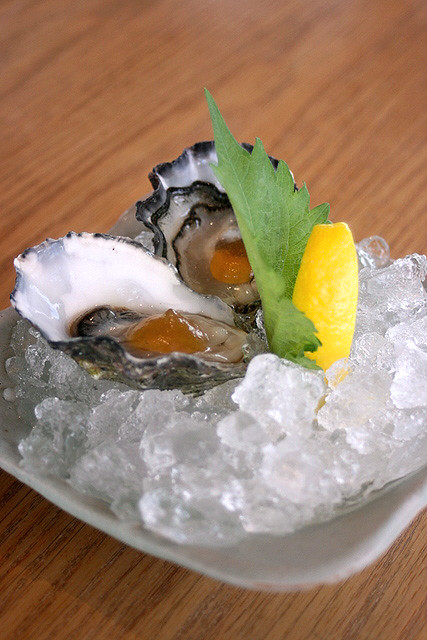 Coffin Bay Oysters with citrus mignonette, tosazu jelly