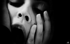 the scream |Coal Series| (Nassia Kapa) Tags: portrait blackandwhite art blanco face mouth painting noir shadows expression dramatic scream expressionism strength feeling drama nero filmnoir femaleportrait youngphotographer nassiakapa edwarrdmunch