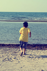 We know not what a child may become. (ehkxbox) Tags: sea beach ex children asian photography bahrain seaside kid nikon child candid horizon middleeast sigma xbox pinoy dg kix 2470 hsm d7000