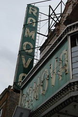 Ramova Theater Marquee and Signs (artistmac) Tags: street city urban chicago green sign yellow architecture movie marquee ligh