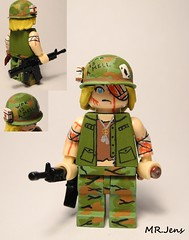 """Welcome To Hell"" Vietnam War LEGO (MR. Jens) Tags: anime army us blood war peace lego m1 ace manga knife camo vietnam pot american vest m16 spades dogtags brickarms"