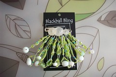 Blackball Bling, Buttons Twisted Wire, Beads, Green n Pearly Whites (BlackballBling) Tags: original abstract necklace beads artist handmade brooch earrings etsy buynow blackballbling currantlyoddfellows