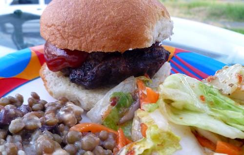 Grilled burger on a gluten free bun