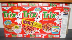 1984 General Mills Trix Cereal Boxes Flats (gregg_koenig) Tags: new rose place general trix cereal petal flats 1984 boxes mills 1985 grape hallmark ovaltine