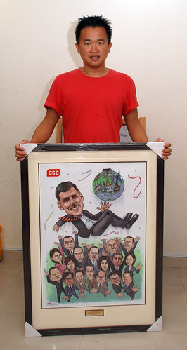 A2 size framed digital group caricatures for CSC