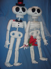 'Til Death Do Us Part (AngelaTiara) Tags: wedding halloween hat dead skeleton toy happy groom bride scary couple doll soft married veil top felt plush spooky plushie bones undead bouquet bridal corpse fleece bridegroom skeletal