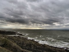Coast (Claire Wroe) Tags: sea sky cloud seascape west water rock landscape grey bay coast path south gray wave devon morte land croyde headland