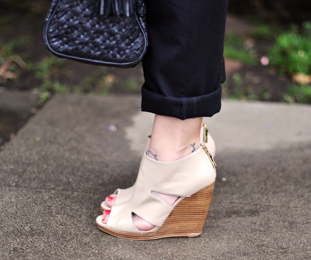 ivory cut out ankle wedges