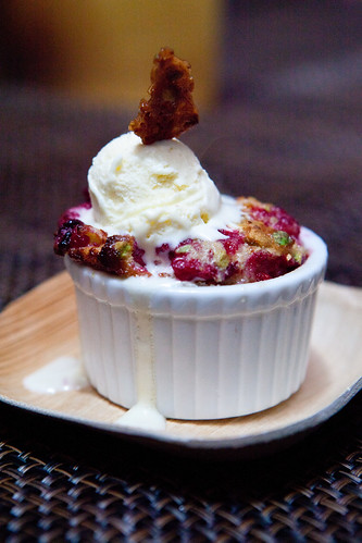 Jenny McCoy from Craft's Raspberry-pistachio clafoutis, lavender ice cream, pistachio nougatine