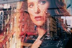 Unforgettable New York (ho_hokus) Tags: nyc newyorkcity newyork reflection film analog poster downtown manhattan busstop 35mmfilm advert analogue westbroadway olympustrip35 unforgettable tvseries olympustrip 2011 fujisuperia100 poppymontgomery