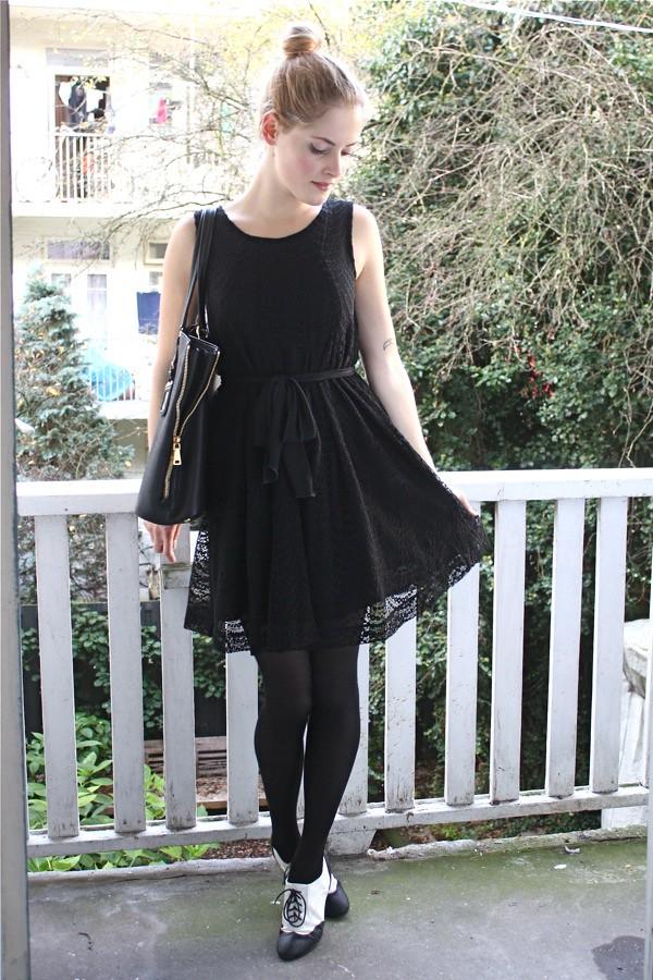 renee sturme fashion fillers black lace dress brogues