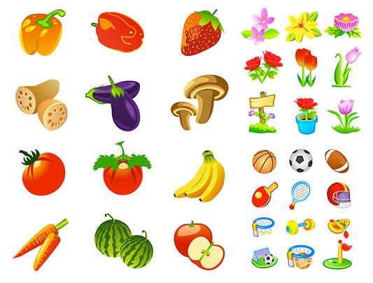 Fruta y Vegetales en Vector