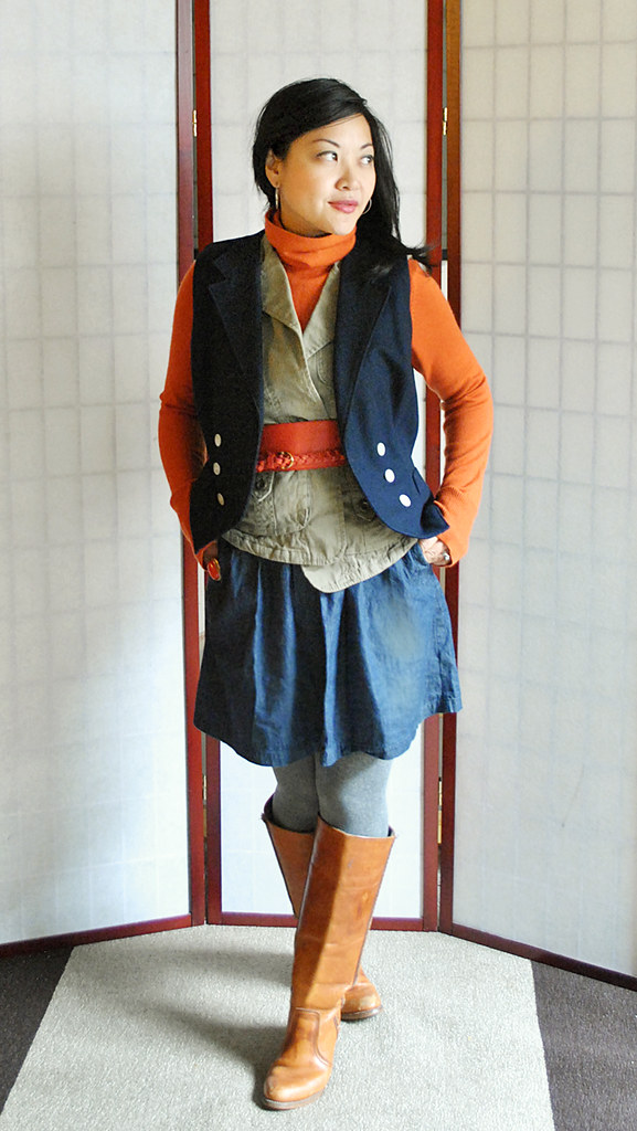 Outfit - Fall - Orange Sweater - Layered Vests - Navy Wool Military Green - 70s 60s - Denim Skirt - Cognac Boots