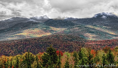 Misty White Mountains (philipleemiller) Tags: autumn nature clouds landscape newhampshire whitemountains fallfoliage hdr mapletrees clearingstorm warrenwoodstockroad
