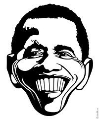 Barack Obama - Black & White Caricature