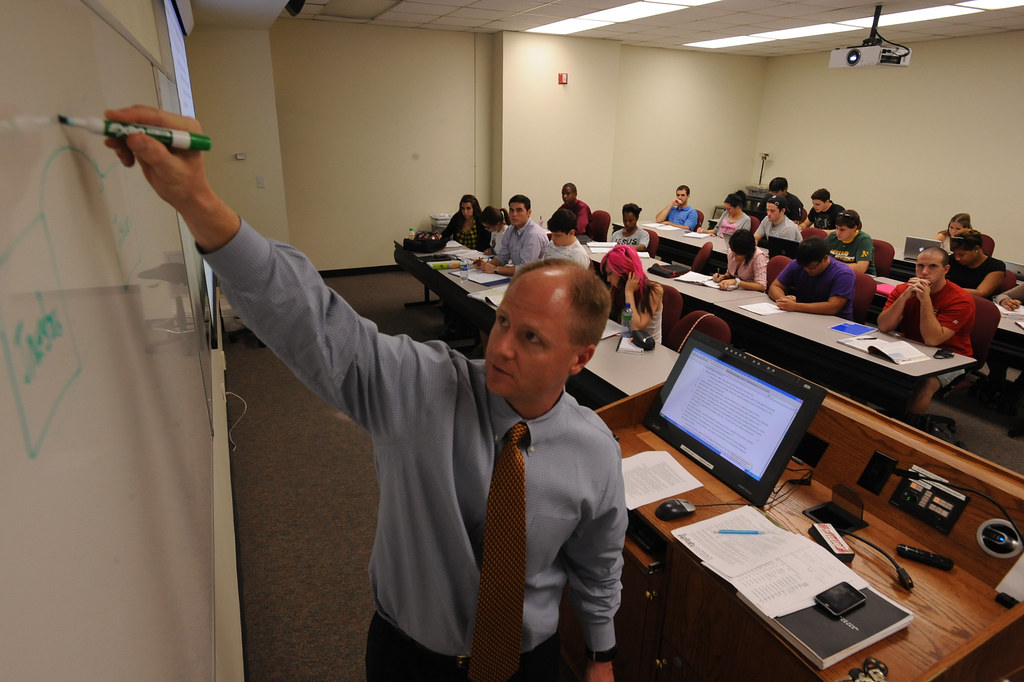 Professor Rusty Yerkes teaching finance in the College of Business