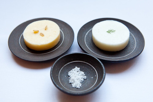 Goat's milk butter (right) and cow's milk butter (left)