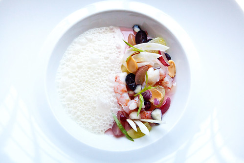 Prawn Crudo with Grapes, Fennel, and Marcona Almonds