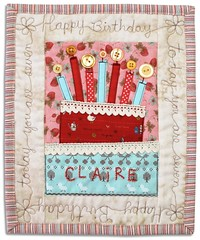 Happy Birthday Claire! (PatchworkPottery) Tags: birthday cake quilt handmade embroidery buttons crafts mini fabric card applique freemotion