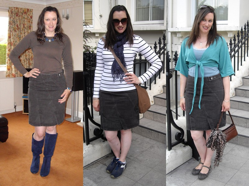 Brown denim skirt collage 2