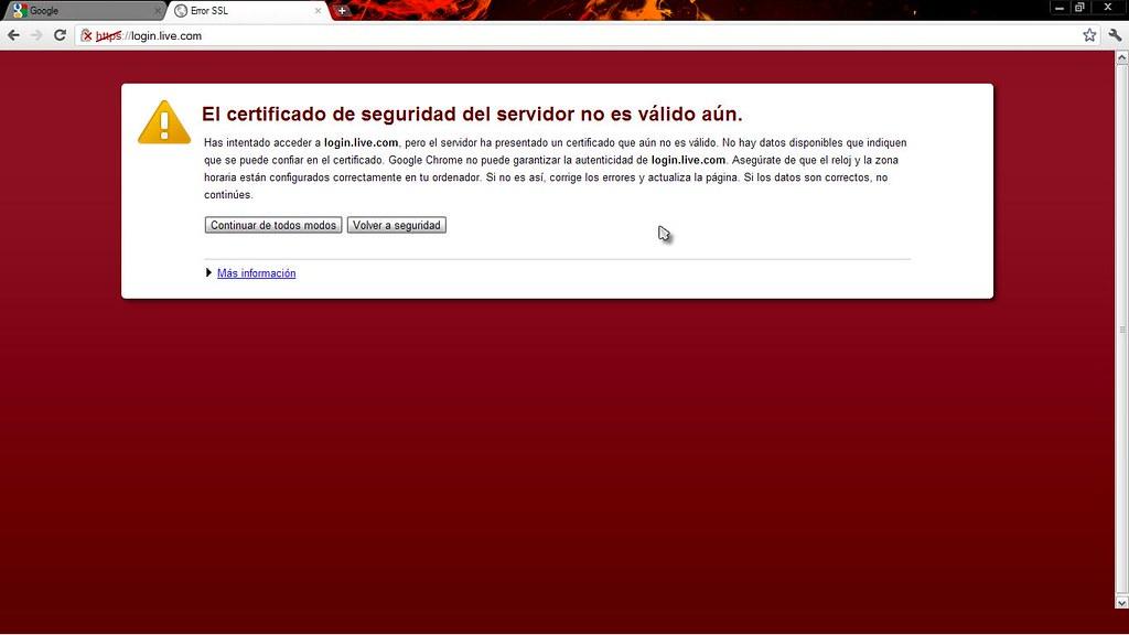 El certificado de seguridad del servidor no es valido aún.