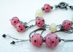 Teenage Kicks (Glittering Prize - Trudi) Tags: pink black glass necklace beads handmade polka jewellery bracelet earrings jewelery slinky dots trudi lampwork glitteringprize