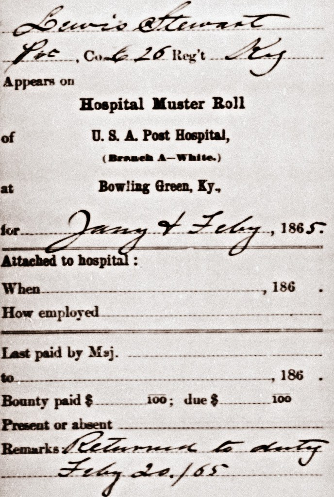 Lewis Stewart Civil War Hospital Muster Roll January and February 1865