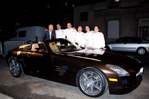 A (very sweet) Mercedes-Benz SLS AMG with the Beard winners and a Mercedes-Benz executive