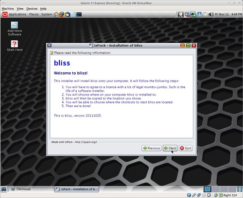 First page of installer for bliss on Solaris