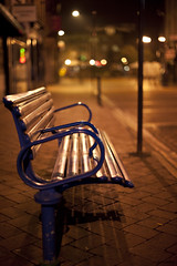 Bench at Night (Josh Kemp-Smith) Tags: uk morning england field night dark bench 50mm lights am nikon bokeh derbyshire smith josh shallow kemp depth derby d3 14g