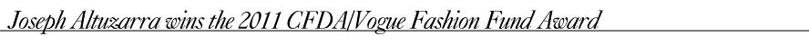 Vogue Fashion Fund Award