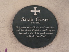 Photo of Sarah Glover green plaque