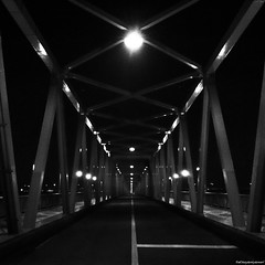 Nightbridge. (YOUANDMEORUS) Tags: road bridge blackandwhite japan night square tokyo perspective iphone youandmeorus