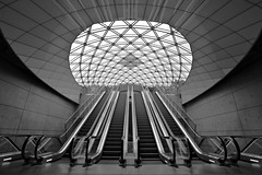 Metro [Explored] (Issa Fakhro) Tags: light blackandwhite bw abstract art lines architecture modern contrast train canon copenhagen underground subway denmark photography lights skne cool europe shadows metro sweden fineart escalator january engineering wideangle future rushhour publictransport shape scandinavia tones malm futuristic 2012 tunnelbana modernity engineeringasart resund tg enginering citytunneln ef1635mmf28liiusm resundsregionen