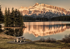 Vintage Two Jack Lake (Jeff Clow) Tags: lake reflection nature vintage landscape albertacanada banffnationalpark twojacklake