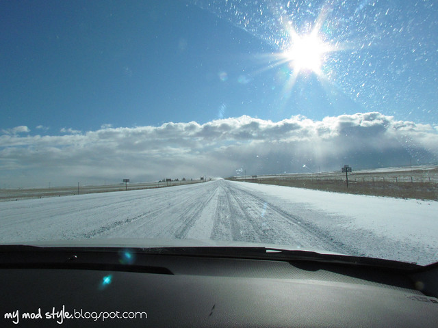 Snowy Roads in Wyoming
