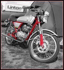 Honda Dream 50 (davekpcv) Tags: red bike photoshop canon honda silver catchycolors japanese raw britain dream twin hrc single motorcycle 50 tiff 50cc selectivecolor motorrad dohc g9 hondadream takegawa hondadream50