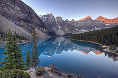 Moraine Lake (Jeremy Duguid) Tags: park travel blue trees lake canada mountains reflection nature canon landscape rockies jeremy canadian national alberta banff glacial duguid 50d pwlandscape jeremyduguid